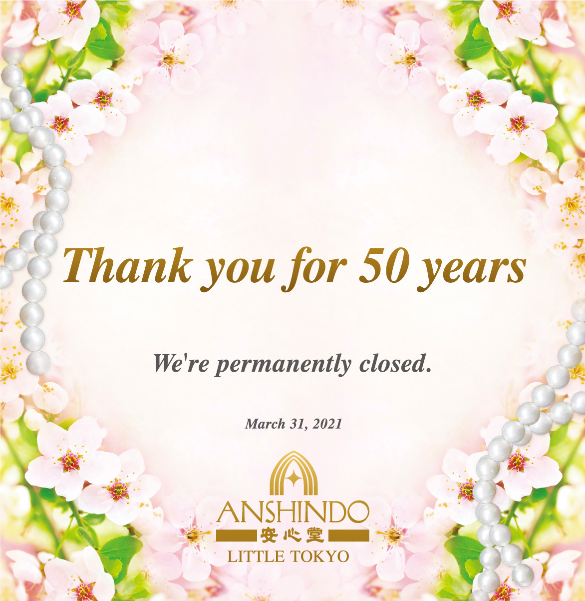 Thank you for 50 years. We're permanently closed.